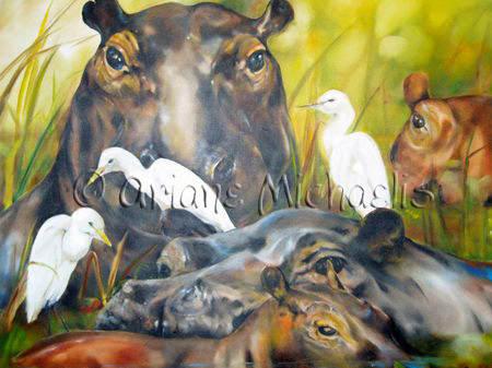 Flusspferde  (Auftragsbild)